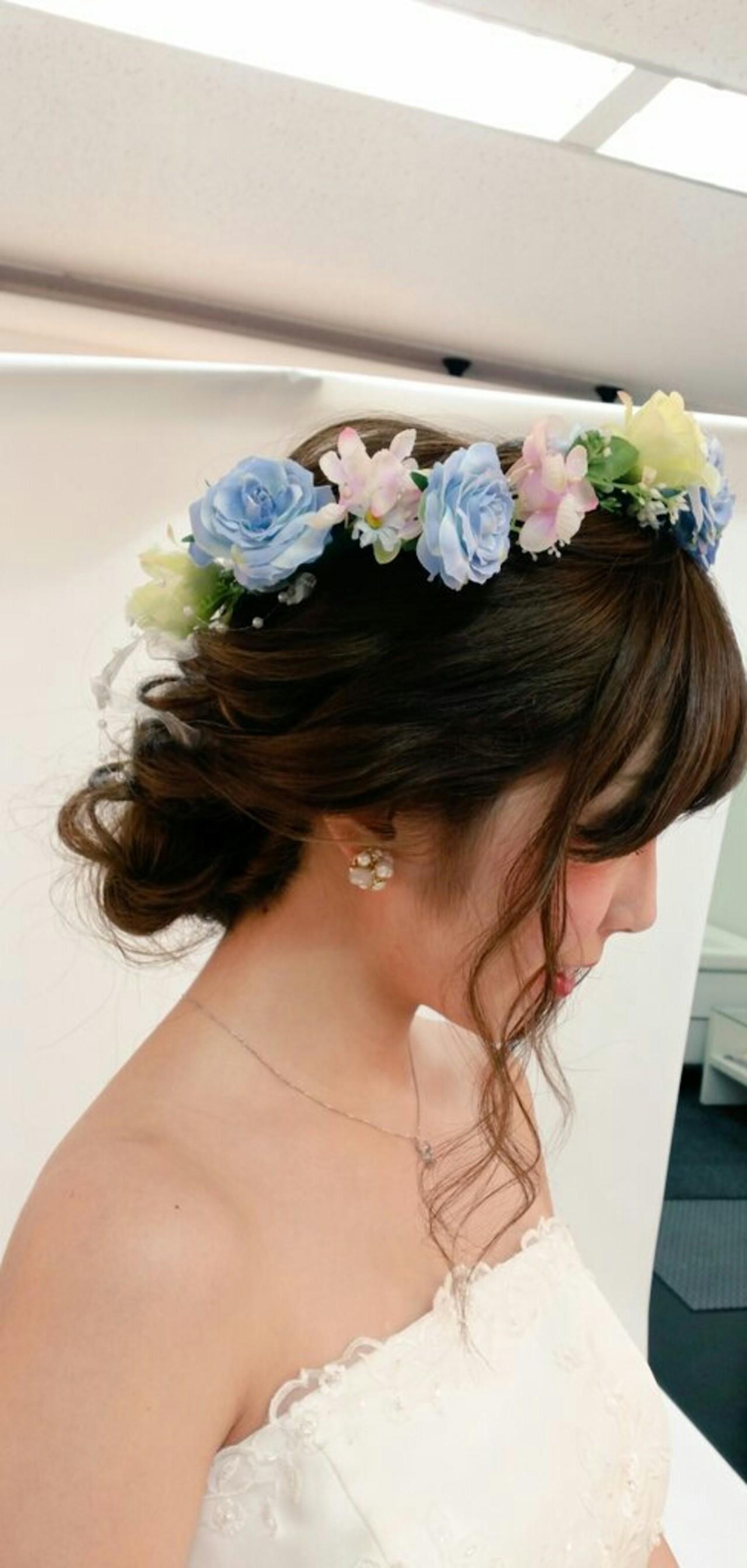 最高に華やかな花嫁さんになるために*お花で飾る結婚式ヘアアレンジ♡ mai takagi