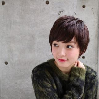 ベリーショート ナチュラル ショートバング ショートボブ ヘアスタイルや髪型の写真・画像