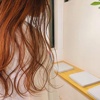 極細ハイライト ロング ハイライト オレンジ ヘアスタイルや髪型の写真・画像