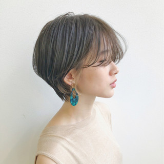 前髪あり 抜け感 ショート オフィス ヘアスタイルや髪型の写真・画像