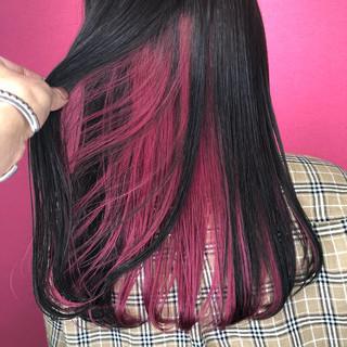 セミロング インナーカラー ガーリー 黒髪 ヘアスタイルや髪型の写真・画像