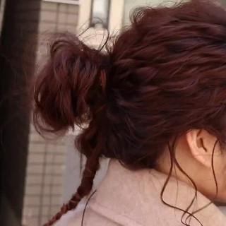 紐アレンジ ヘアアレンジ ナチュラル ヘアセット ヘアスタイルや髪型の写真・画像