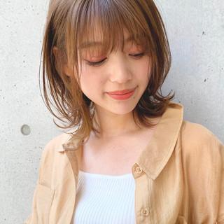 透明感カラー デジタルパーマ ミディアム ヘアアレンジ ヘアスタイルや髪型の写真・画像
