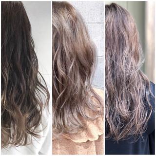 ウェーブ ゆるふわ グラデーションカラー ナチュラル ヘアスタイルや髪型の写真・画像