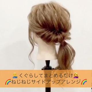 ヘアアレンジ ショート フェミニン ミディアム ヘアスタイルや髪型の写真・画像