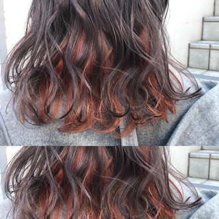 ミディアム 簡単ヘアアレンジ オレンジベージュ オレンジ ヘアスタイルや髪型の写真・画像
