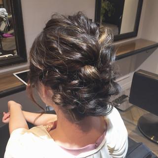 エレガント ヘアアレンジ セミロング ウェーブ ヘアスタイルや髪型の写真・画像
