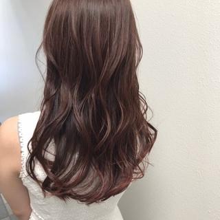 ゆるふわ ピンク ナチュラル ロング ヘアスタイルや髪型の写真・画像