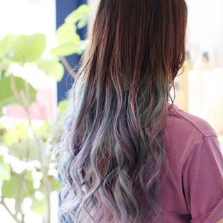 デザインカラー ブリーチ エレガント ブリーチカラー ヘアスタイルや髪型の写真・画像