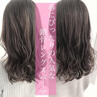 デジタルパーマ ゆるふわパーマ パーマ セミロング ヘアスタイルや髪型の写真・画像