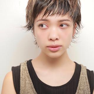 レイヤーカット ハイライト ベリーショート ショート ヘアスタイルや髪型の写真・画像