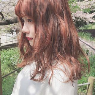 ヘアアレンジ アプリコットオレンジ オレンジベージュ 簡単ヘアアレンジ ヘアスタイルや髪型の写真・画像