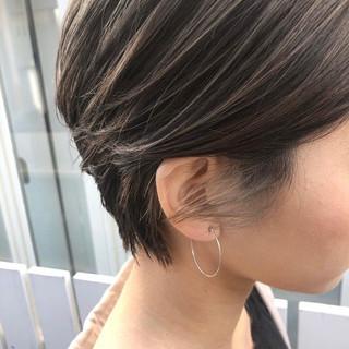 外国人風カラー ナチュラル ショートボブ ハイライト ヘアスタイルや髪型の写真・画像