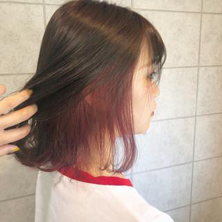 フェミニン ボブ クリーミーカラー ピンク ヘアスタイルや髪型の写真・画像