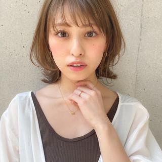 透明感カラー 小顔ヘア 鎖骨ミディアム ナチュラル ヘアスタイルや髪型の写真・画像