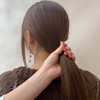 ナチュラル デート ベージュ ロング ヘアスタイルや髪型の写真・画像