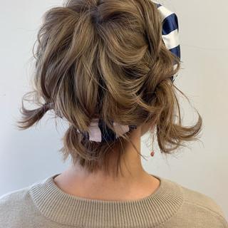 フェミニン ボブ 簡単ヘアアレンジ ミニボブ ヘアスタイルや髪型の写真・画像