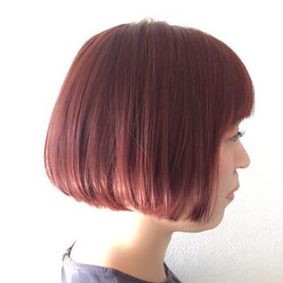 モード 透明感 レッド エフォートレス ヘアスタイルや髪型の写真・画像