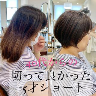 切りっぱなしボブ ショートヘア ナチュラル ショートボブ ヘアスタイルや髪型の写真・画像