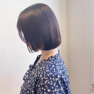 ピンクラベンダー ボブ フェミニン 透明感カラー ヘアスタイルや髪型の写真・画像