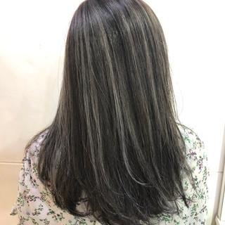 コントラストハイライト モード セミロング 大人ハイライト ヘアスタイルや髪型の写真・画像