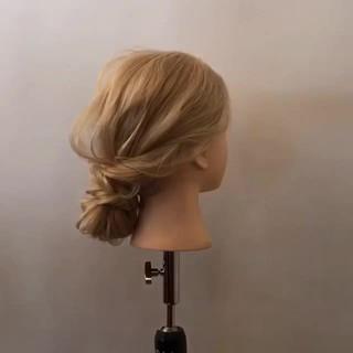 ロング 簡単ヘアアレンジ ゆるふわ ヘアアレンジ ヘアスタイルや髪型の写真・画像