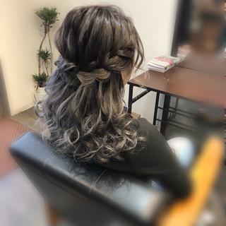 ヘアアレンジ ボブアレンジ 編み込み ミディアム ヘアスタイルや髪型の写真・画像