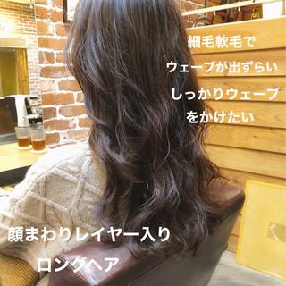 デジタルパーマ ロング ナチュラル パーマ ヘアスタイルや髪型の写真・画像