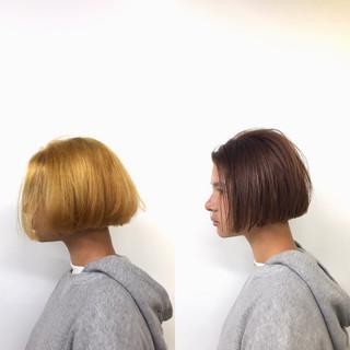 かっこいい オレンジベージュ ナチュラル ショートボブ ヘアスタイルや髪型の写真・画像