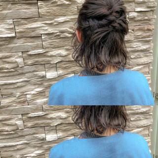 フェミニン ボブ デート ヘアアレンジ ヘアスタイルや髪型の写真・画像