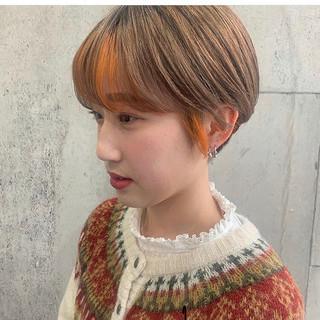 ハンサムショート ショートヘア インナーカラー ベリーショート ヘアスタイルや髪型の写真・画像