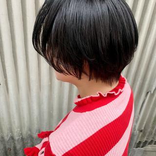 黒髪 ショート 簡単ヘアアレンジ ナチュラル ヘアスタイルや髪型の写真・画像