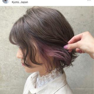 パープル ピンク ボブ 外国人風カラー ヘアスタイルや髪型の写真・画像