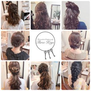 結婚式 ヘアアレンジ セミロング 女子力 ヘアスタイルや髪型の写真・画像