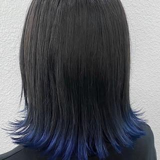 切りっぱなしボブ モード 裾カラー ボブ ヘアスタイルや髪型の写真・画像