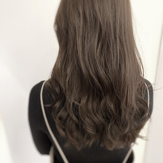 ロング デジタルパーマ パーマ イルミナカラー ヘアスタイルや髪型の写真・画像