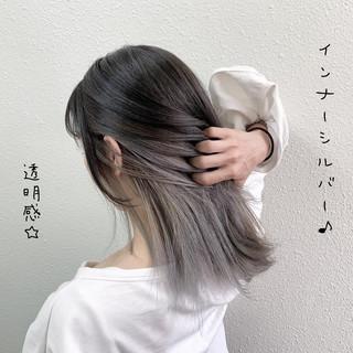 ガーリー ミルクティーグレージュ シルバー ロング ヘアスタイルや髪型の写真・画像