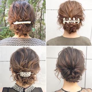 結婚式 シニヨン セミロング ヘアアレンジ ヘアスタイルや髪型の写真・画像