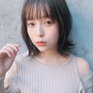 デジタルパーマ 大人かわいい アンニュイほつれヘア ミディアム ヘアスタイルや髪型の写真・画像