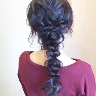 編みおろし フェミニン お呼ばれ 簡単ヘアアレンジ ヘアスタイルや髪型の写真・画像