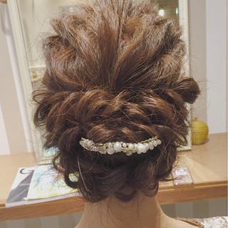 ヘアアレンジ 波ウェーブ 涼しげ 結婚式 ヘアスタイルや髪型の写真・画像