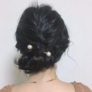 結婚式 フェミニン ヘアアレンジ パーティ ヘアスタイルや髪型の写真・画像