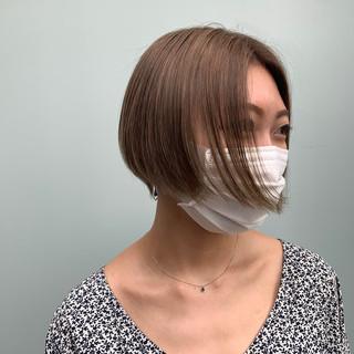 ショート コンサバ ショートボブ ヘアカラー ヘアスタイルや髪型の写真・画像