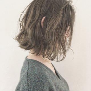 大人かわいい ゆるふわ ボブ アウトドア ヘアスタイルや髪型の写真・画像