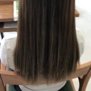 ハイライト グレージュ グラデーションカラー セミロング ヘアスタイルや髪型の写真・画像