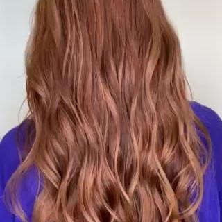 ナチュラル オレンジブラウン ロング アプリコットオレンジ ヘアスタイルや髪型の写真・画像