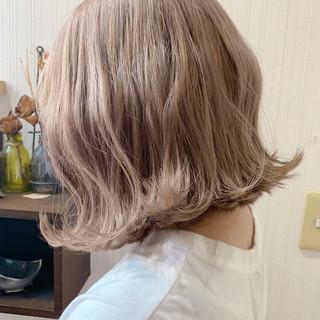 ボブ 簡単ヘアアレンジ ミルクティーグレージュ ミルクティーベージュ ヘアスタイルや髪型の写真・画像