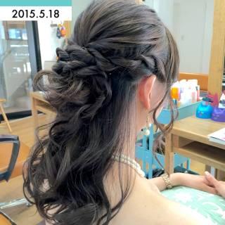 結婚式 ロング くるりんぱ ヘアアレンジ ヘアスタイルや髪型の写真・画像