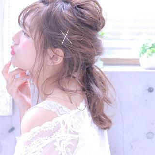 ポニーテール シースルーバング 簡単ヘアアレンジ ガーリー ヘアスタイルや髪型の写真・画像
