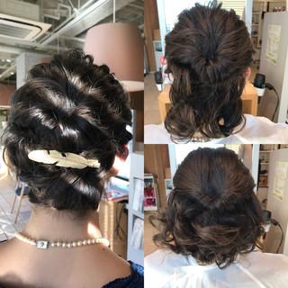 くるりんぱ 結婚式 上品 ボブ ヘアスタイルや髪型の写真・画像